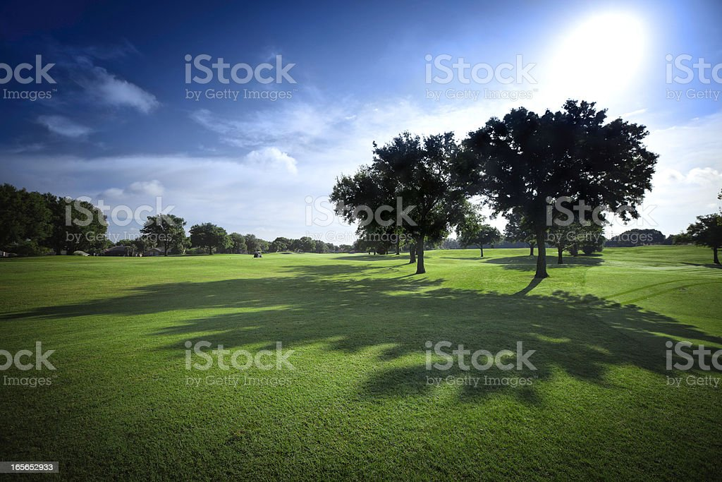 Sun shining on golf fields - backlit with shadows stock photo