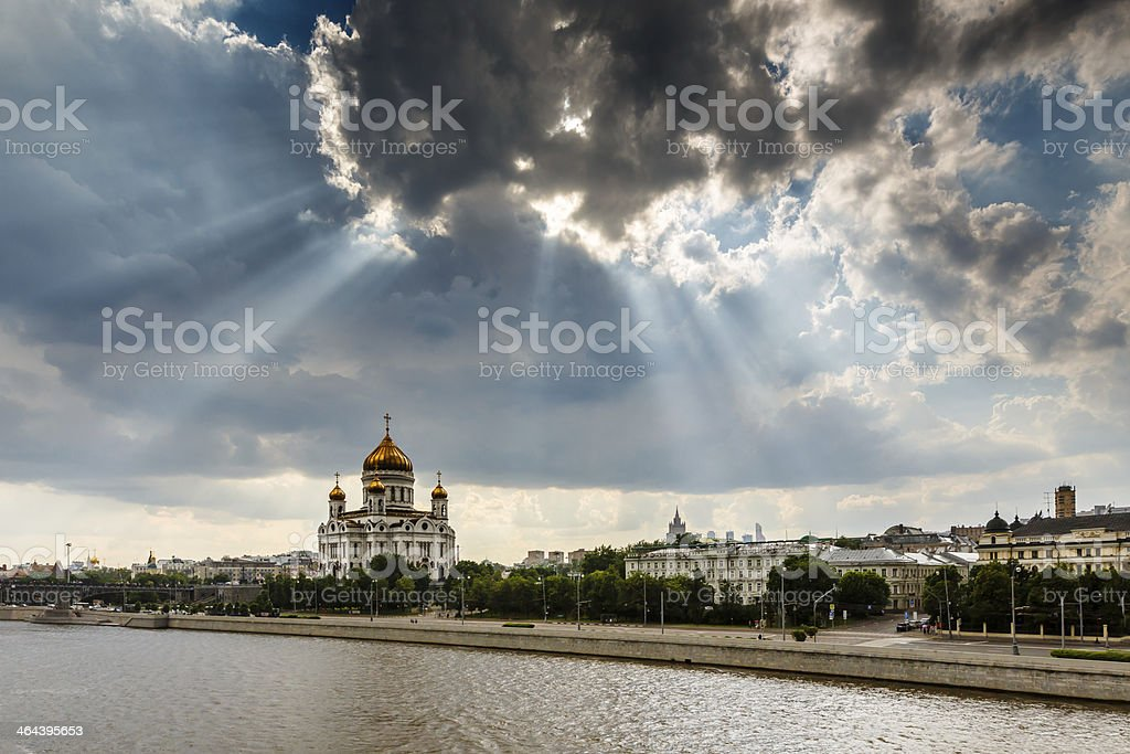 Sun Shining over Cathedral of Christ the Saviour in Moscow royalty-free stock photo