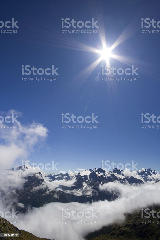 Sun Shining over Mountains royalty-free stock photo