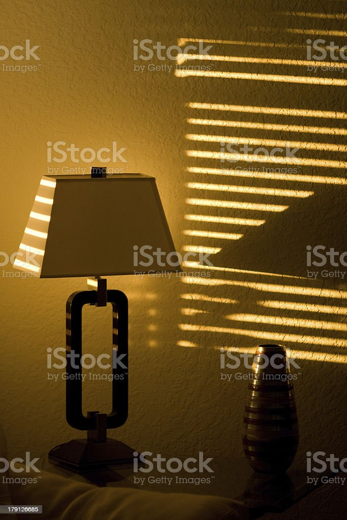 Sun Shining Through Window Blinds royalty-free stock photo