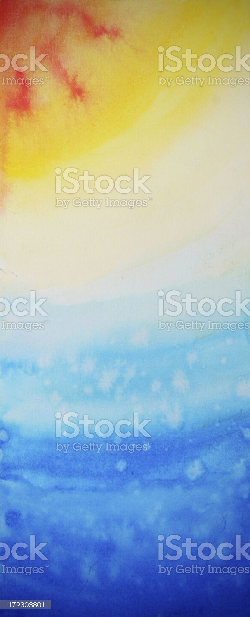 Sun, Space, Stars Watercolor Painting royalty-free stock vector art