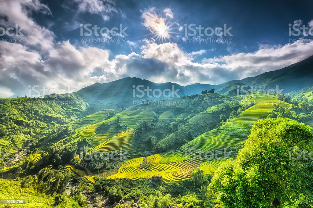 Sun star above the beautiful highland Sapa stock photo
