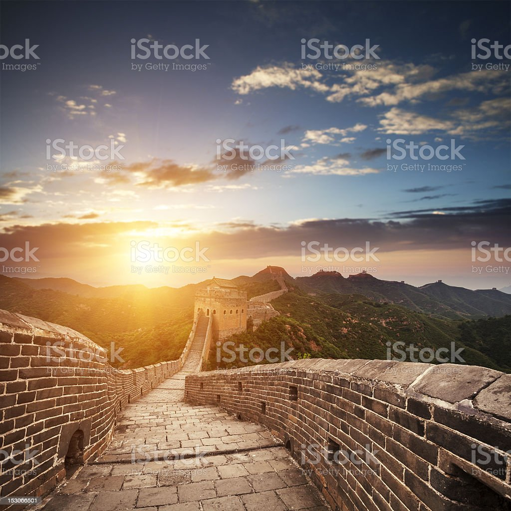 Sun through clouds from the Great Wall in China stock photo