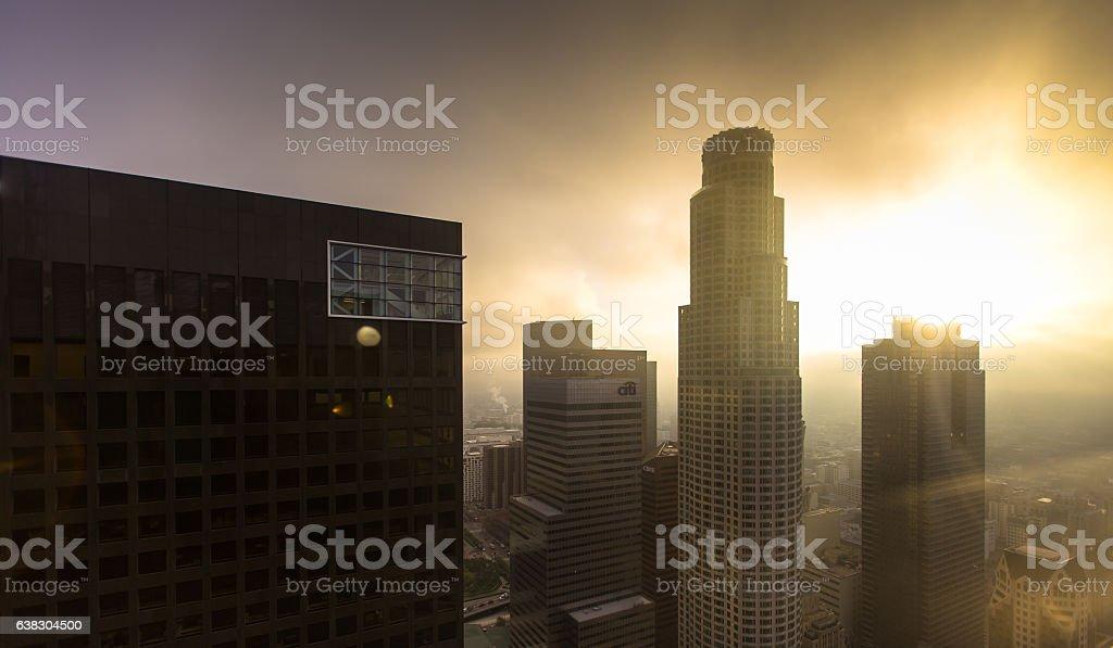 Sun Through Fog on Downtown Skyscrapers stock photo