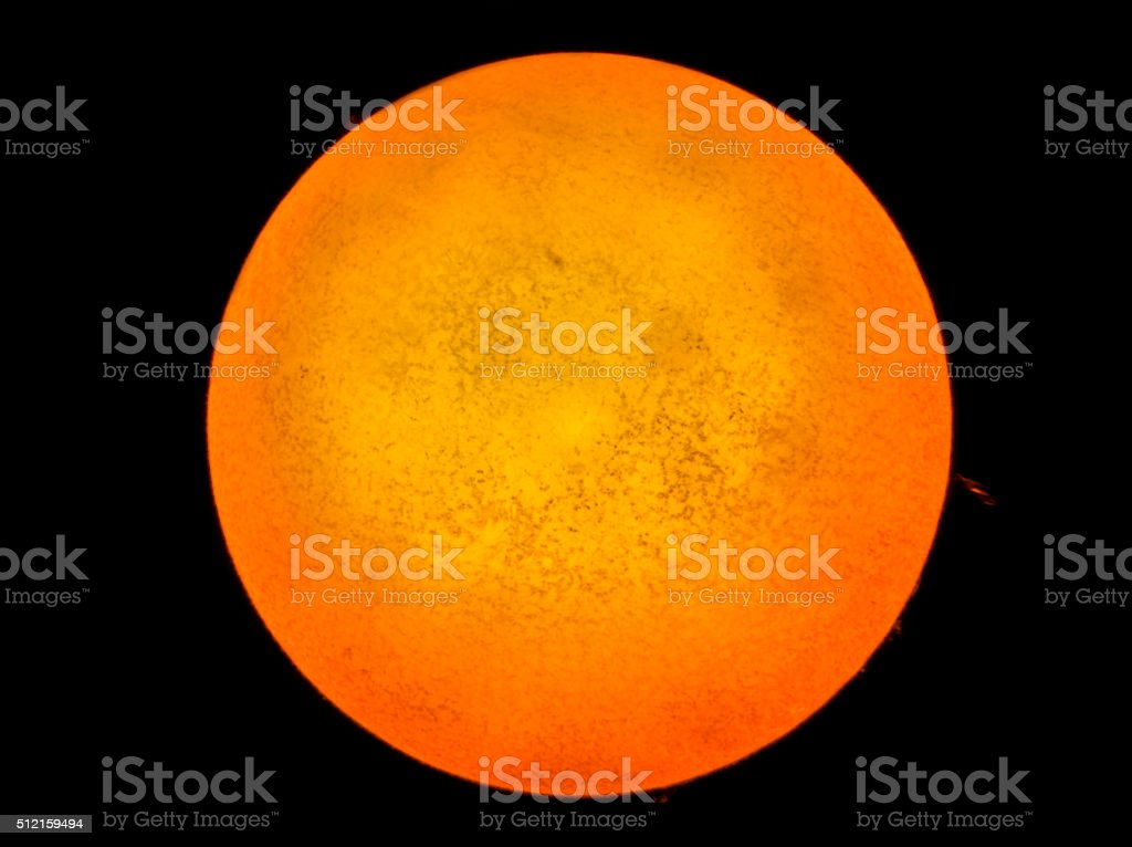 Sun Through Solar Telescope Real Image stock photo