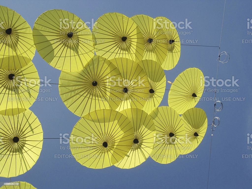 Sun Umbrellas in the Sky stock photo