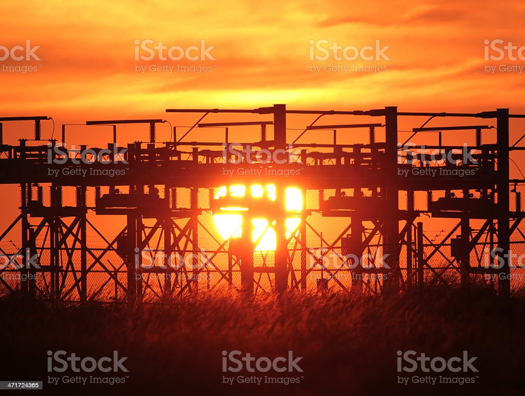 Sun, wheat and Electrical Station royalty-free stock photo
