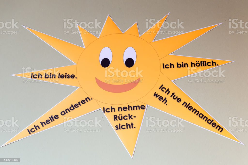Sun with instructions in German stock photo
