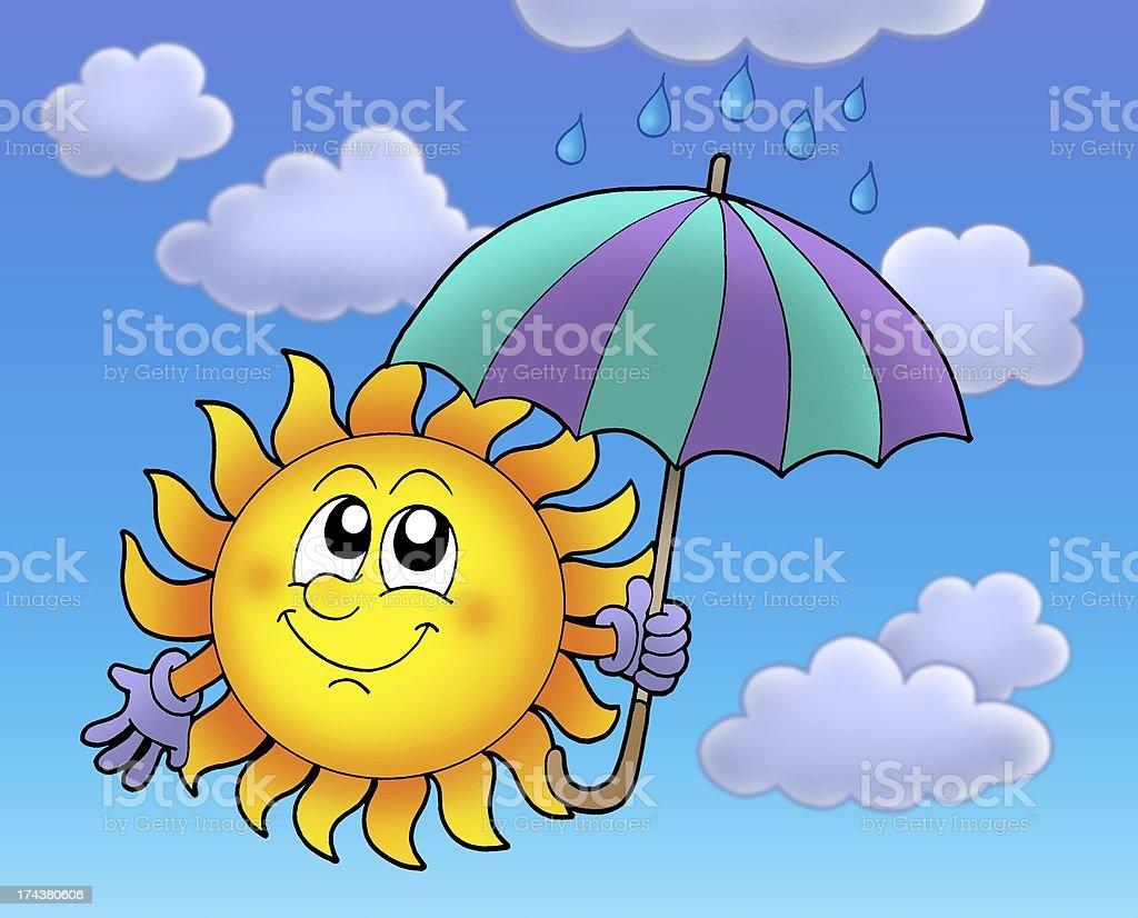 Sun with umbrela on cloudy sky royalty-free stock photo
