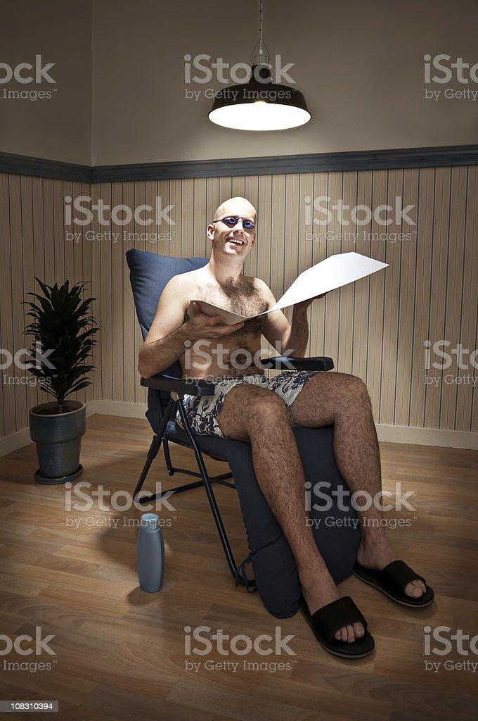 Sunbather in Solarium stock photo