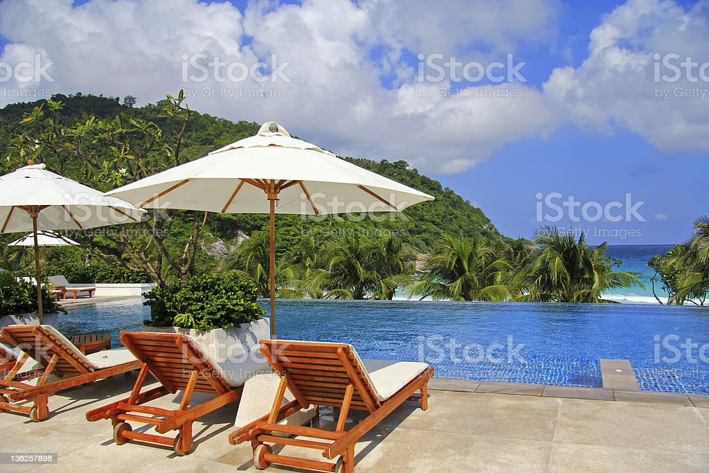 Sunbathing Beds along the swimming pool royalty-free stock photo