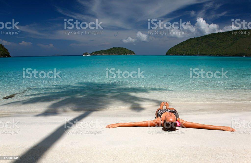 sunbathing in paradise royalty-free stock photo