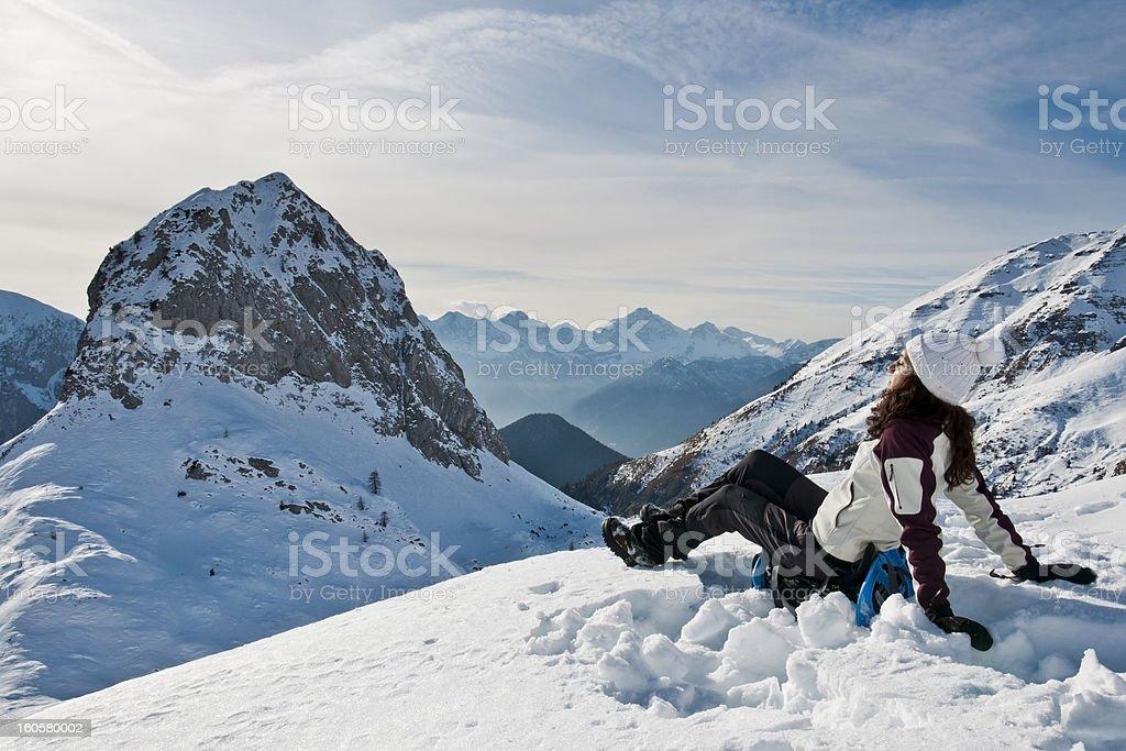 Sunbathing on the snow royalty-free stock photo