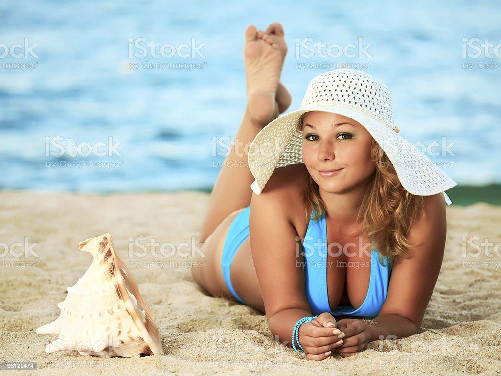 Sunbathing woman royalty-free stock photo