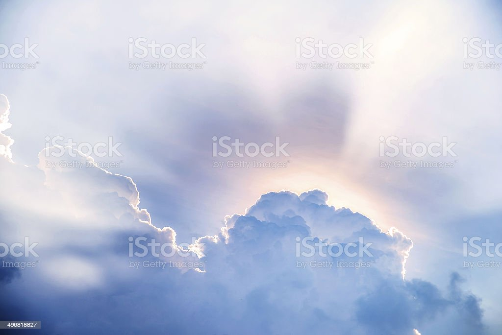 Sunbeam after the clouds. stock photo