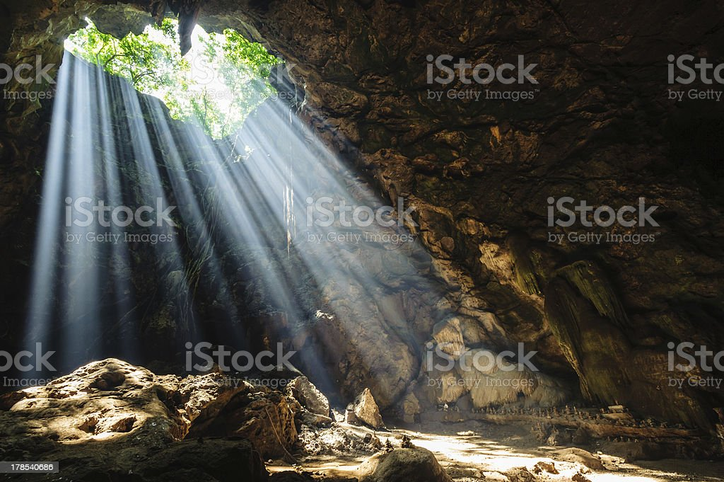 Sunbeam in cave royalty-free stock photo