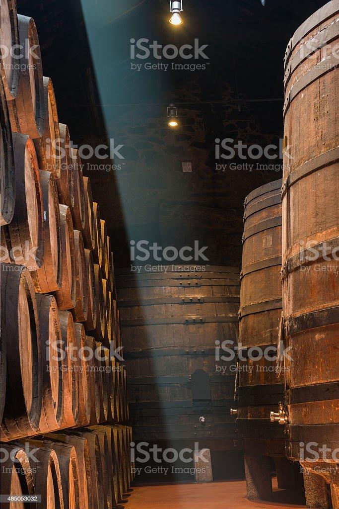 Sunbeam in the wine cellar stock photo