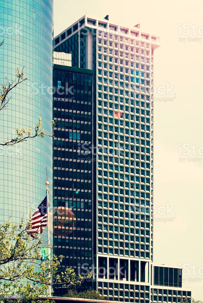 Sunbeam on offices building stock photo