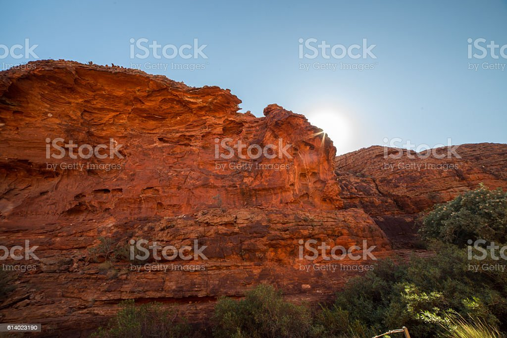 Sunbeam on the red cliff of Kings Canyon stock photo
