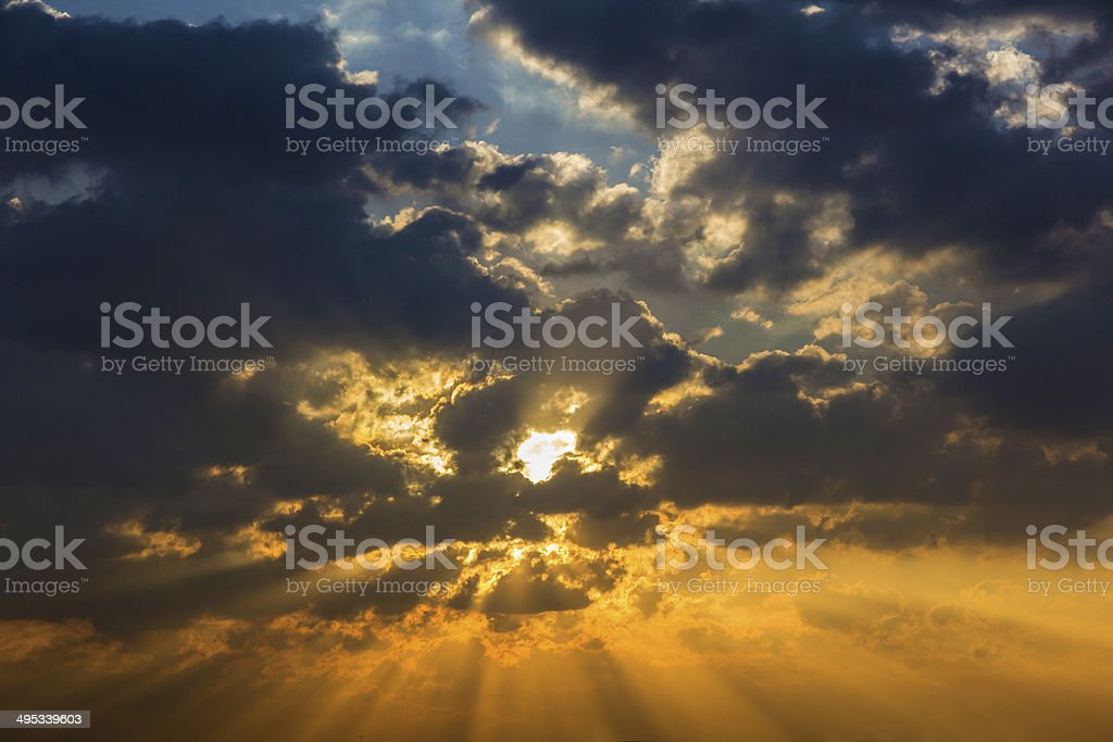 Sunbeam ray light cloud sky twilight color royalty-free stock photo