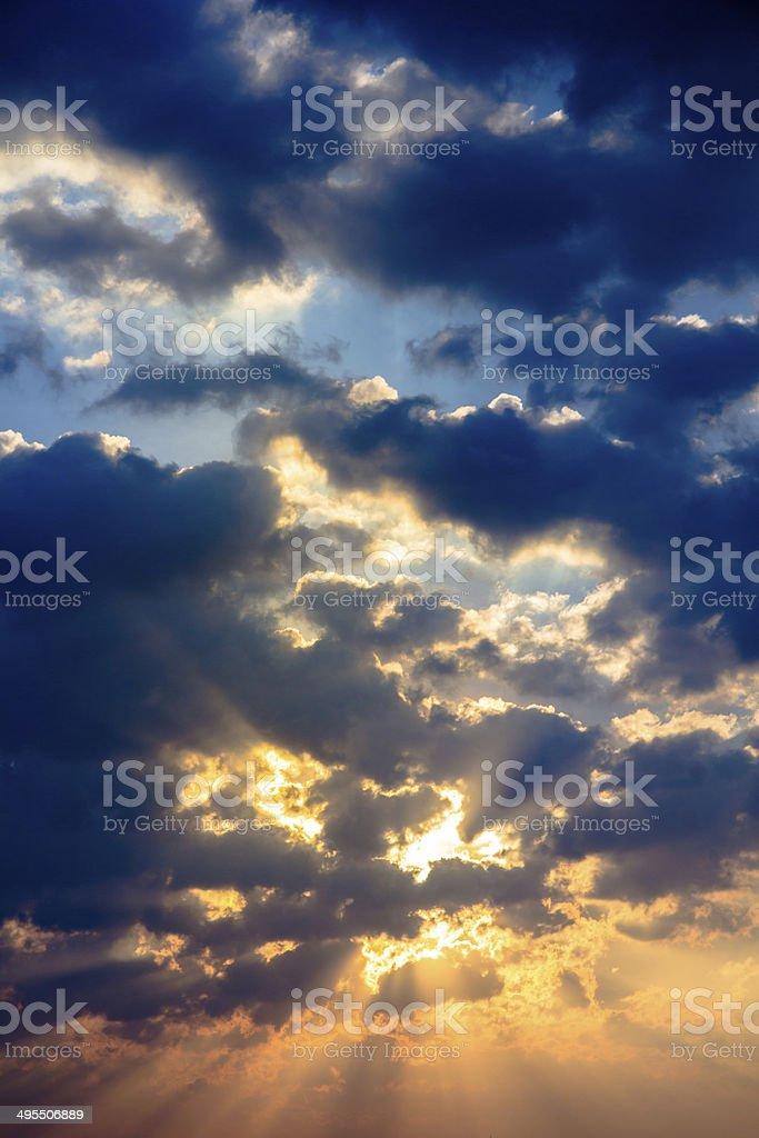 Sunbeam ray light cloud sky twilight color royalty-free stock photo