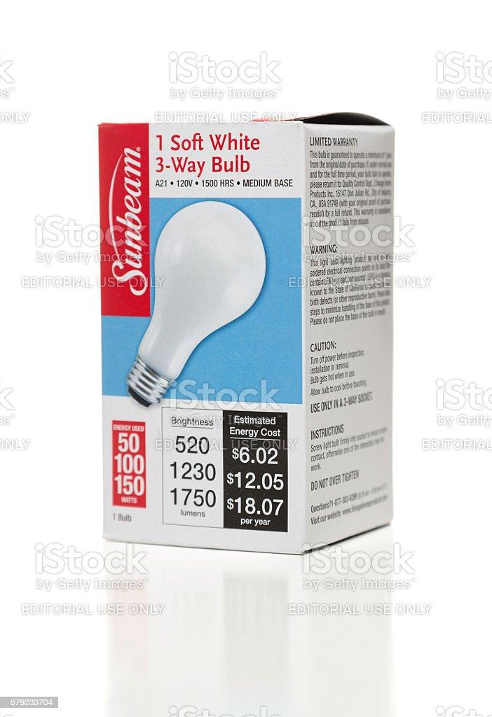 Sunbeam soft white bulb box side stock photo