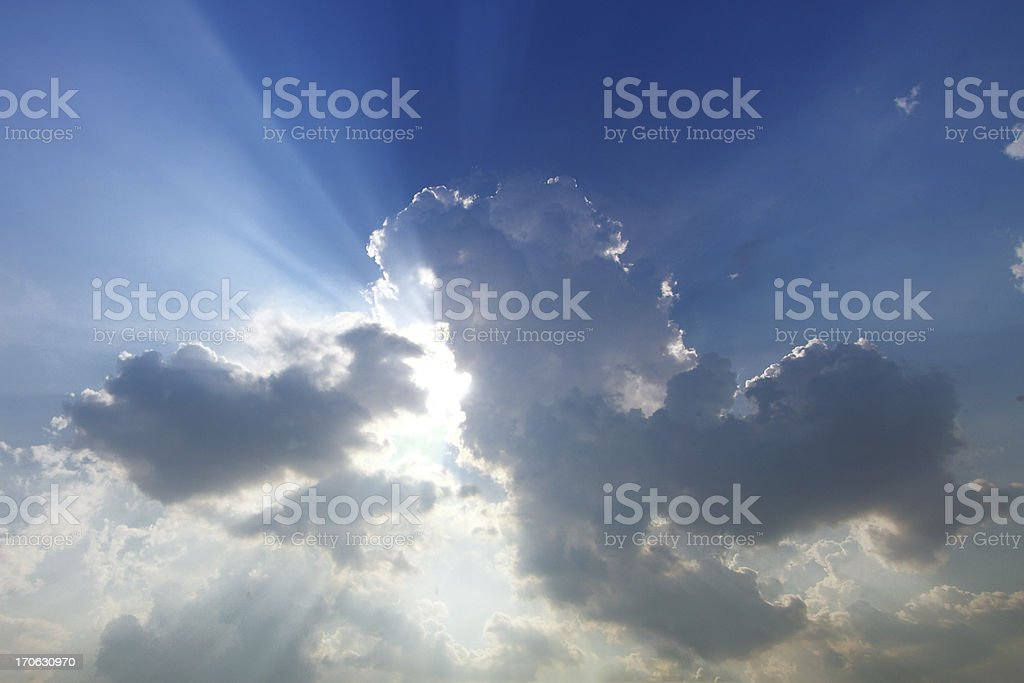 Sunbeam  through the haze on blue sky royalty-free stock photo