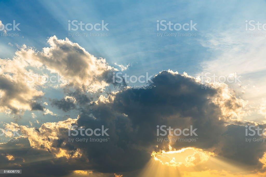 Sunbeam through the haze on blue sky stock photo