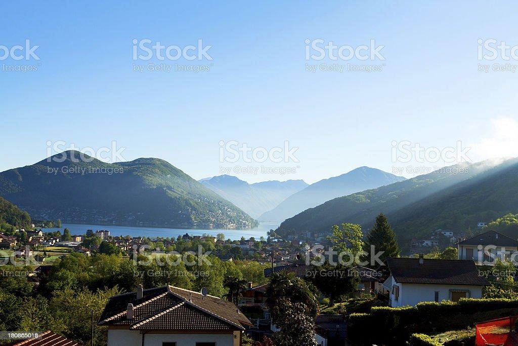 Sunbeams down to Lake Lugano stock photo