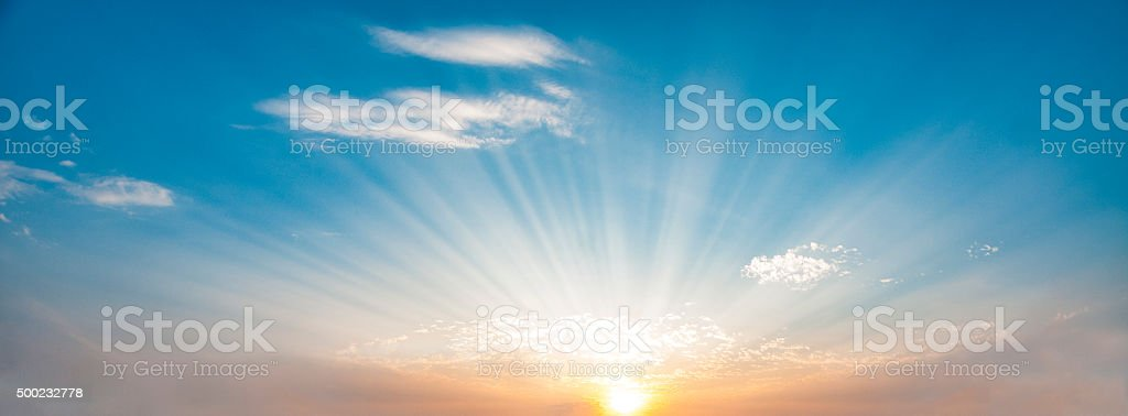 Sunbeams In A Dramatic Sunset stock photo