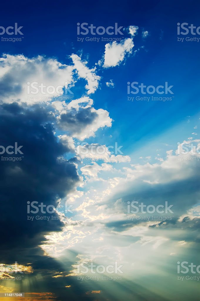 Sunbeams in the Sky royalty-free stock photo
