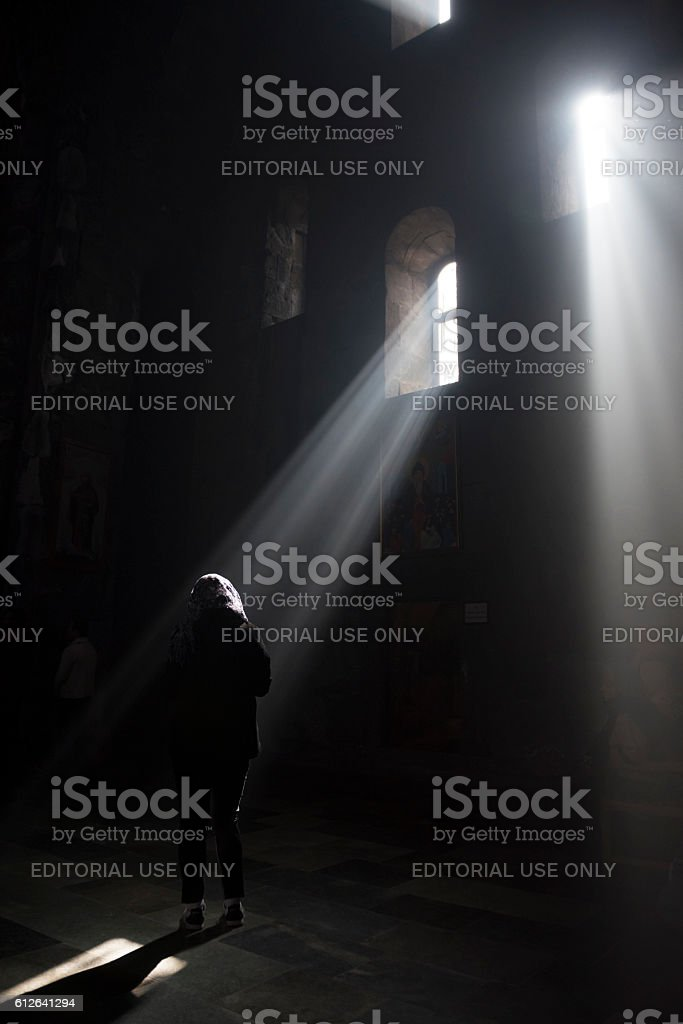 Sunbeams inside Tatev Monastery in Armenia stock photo