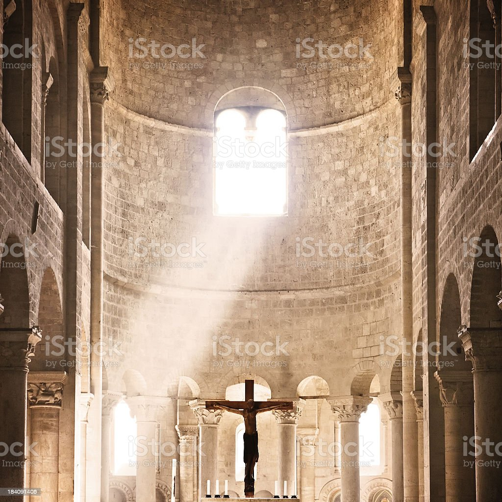 Sunbeams of God Inside Sant'Antimo Church in Tuscany, Italy royalty-free stock photo