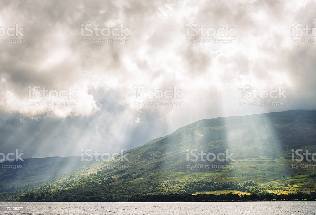 Sunbeams on Scottish Hills royalty-free stock photo