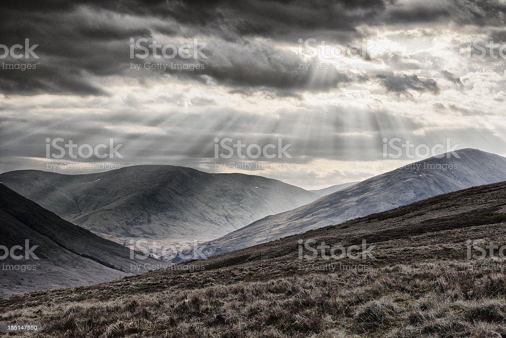 Sunbeams Over The Arrochar Alps stock photo