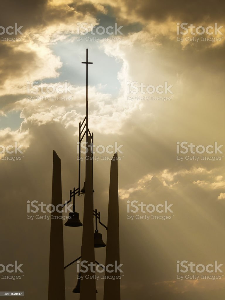 Sunbeams Shine Through The Clouds Wish Church Belltower And Cross royalty-free stock photo