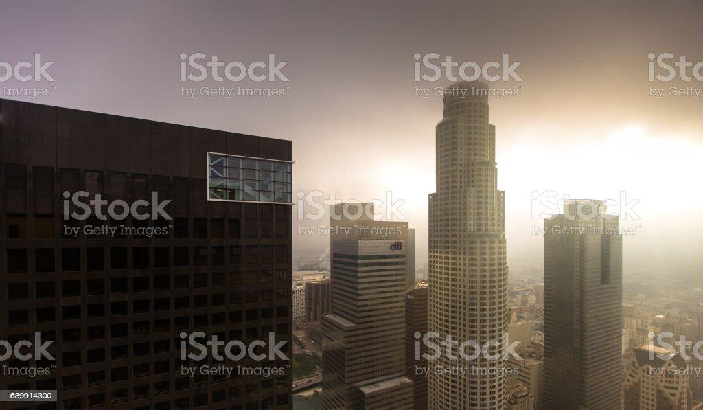 Sunbeams Through Fog on Financial District stock photo