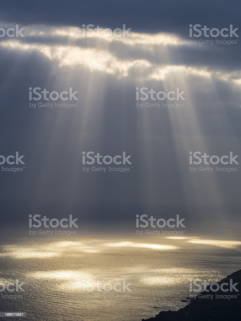 Sunbeams through the Clouds stock photo
