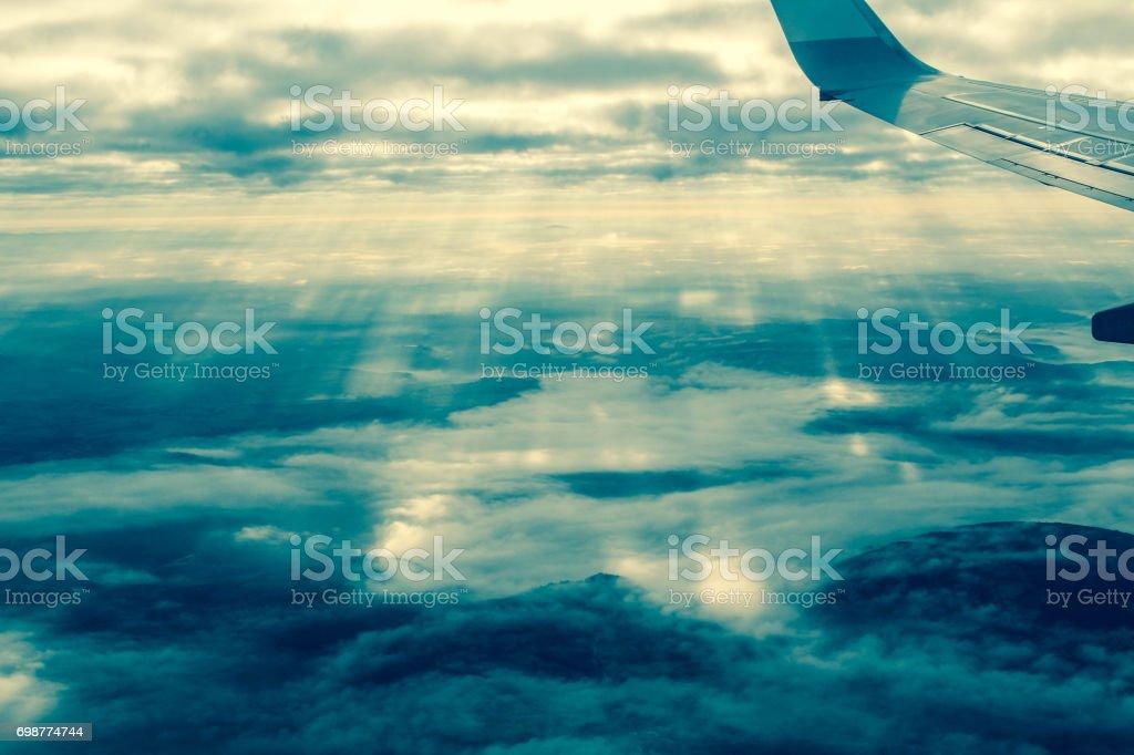 Sunbeams through the sky stock photo