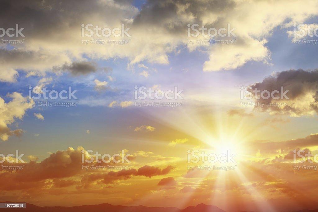 Sunbean of Sunset Sky stock photo