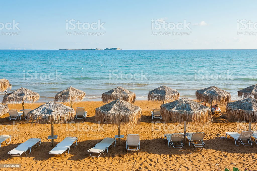 Sunbeds at Xi Beach, Kefalonia stock photo