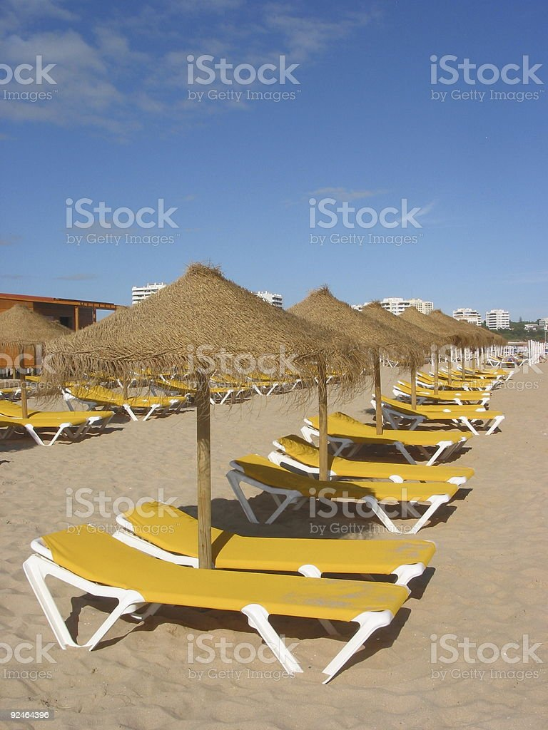Sunbeds in Portugal royalty-free stock photo