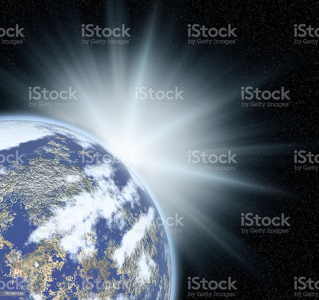 Sunburst behind the earth royalty-free stock photo
