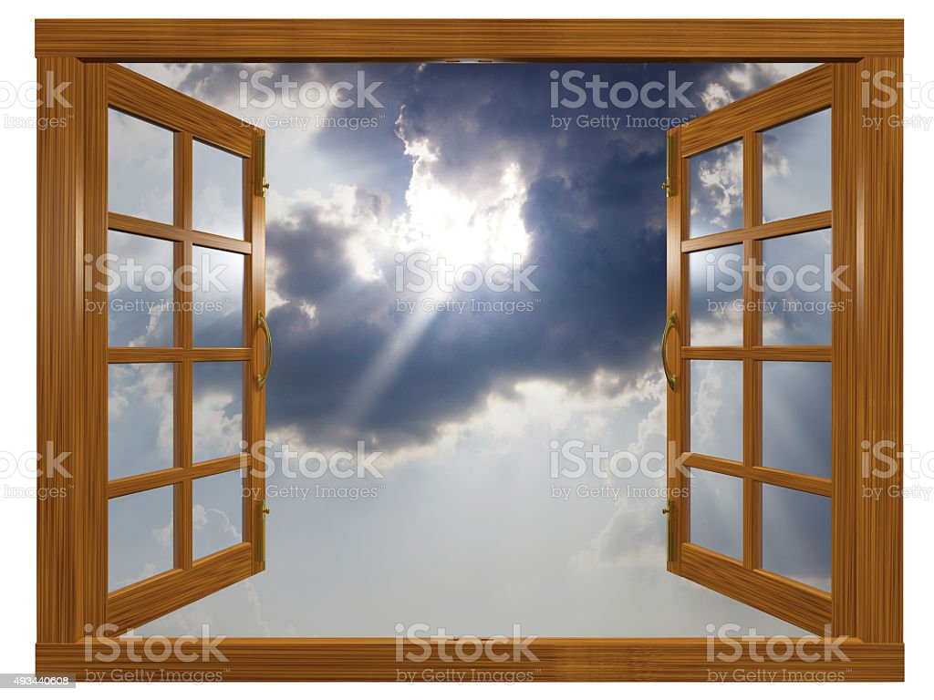 Sunburst Cloudscape through Open Wood Window stock photo