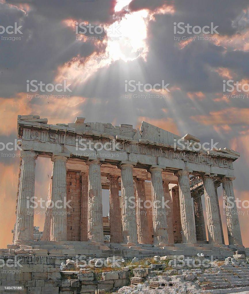 Sunburst over the Acropolis royalty-free stock photo