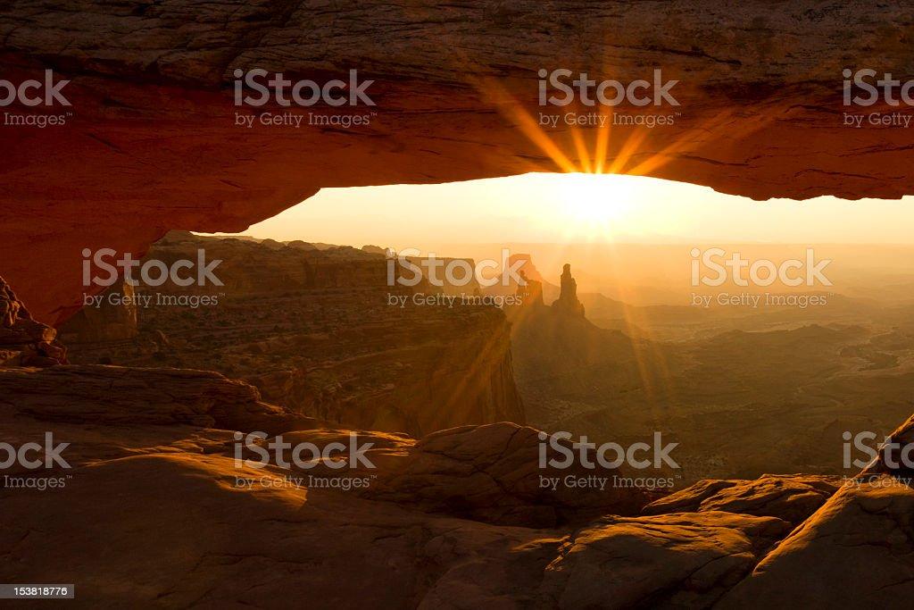Sunburst through Mesa Arch stock photo