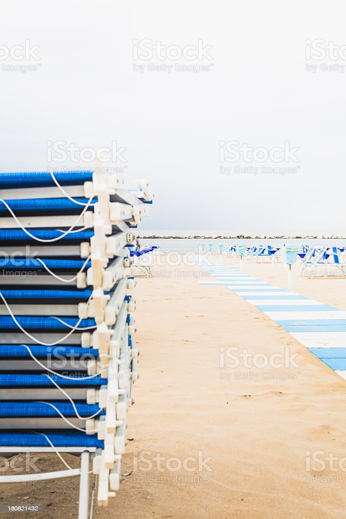 Sunchairs at the beach royalty-free stock photo