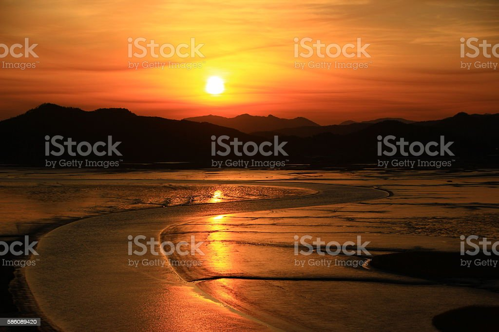 Suncheonman Bay sunset landscape royalty-free stock photo