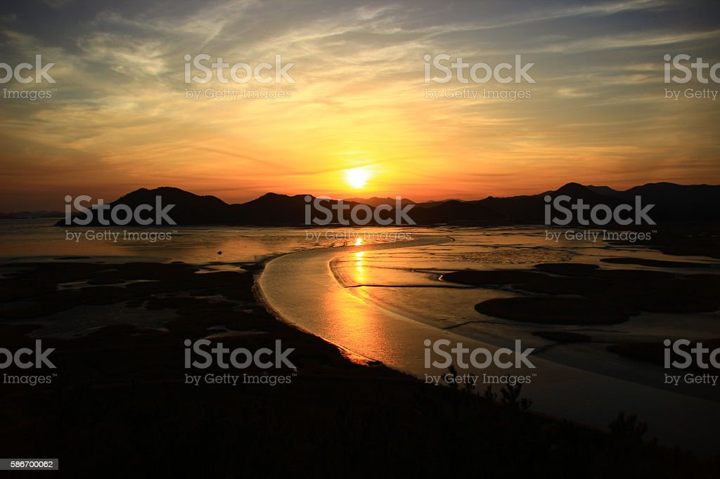 Suncheonman Bay sunset royalty-free stock photo