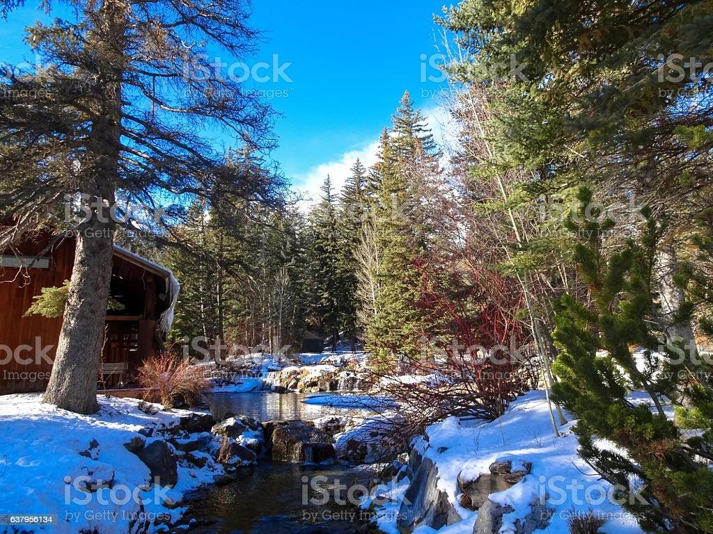 sundance lodge in winter stock photo